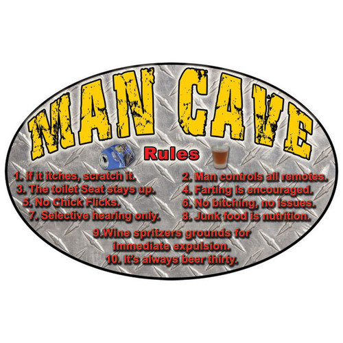 """Rivers Edge """"MAN CAVE RULES"""" Sign, 12"""" x 17"""""""