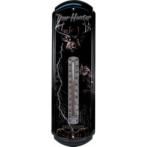 "Large Tin Thermometer 5"" x 17"" NEW Deer Hunter Dominate the Woods"