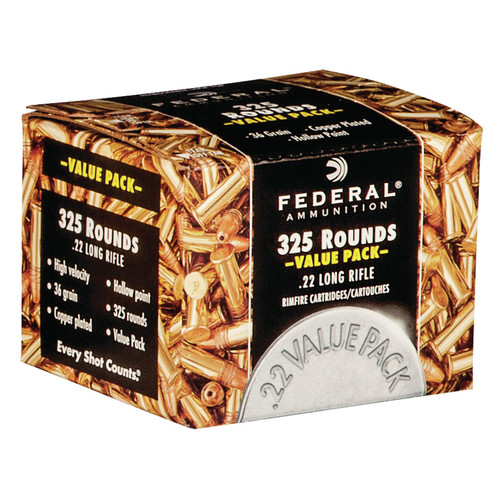 Federal 725 Value Pack 22 LR 36 GR Copper Plated Hollow Point 325 Rounds