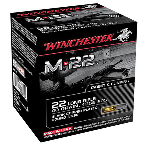 Winchester .22LR M22 40GR Black Copper Plated Round Nose 400 rounds