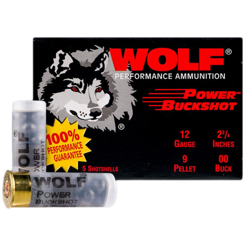 "Wolf Power Ammunition 12 Gauge 2-3/4"" 00 Buckshot 9 Pellets 5 Rounds"