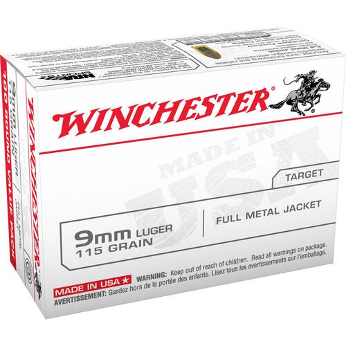 Winchester USA 9mm Luger 115 GR Full Metal Jacket 100 Rounds