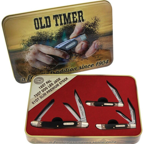 Schrade Old Timer Gift Set 3 Pocket Knife Stainless Blade Sawcut Delrin Handle