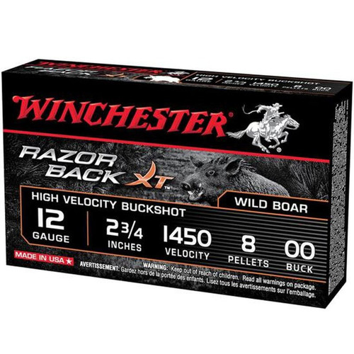 "Winchester 12 Gauge 2.75"" Razorback XT 00 Buck 5 Rounds"