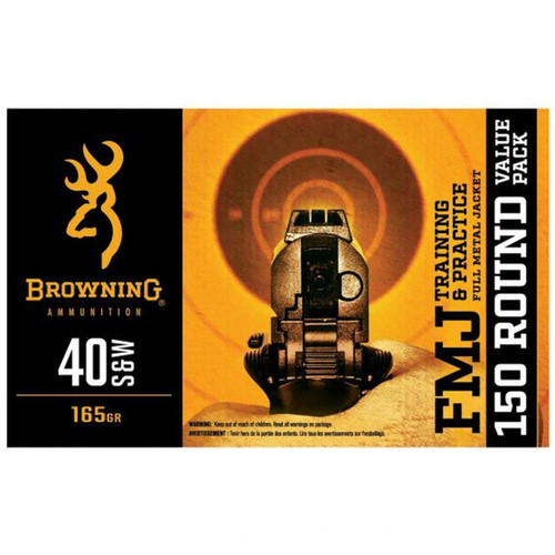 Browning Training & Practice 165 Grain FMJ 40 S&W Ammo 150 Rounds