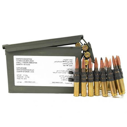 Federal Lake City .50 BMG M33/M17 4:1 Ball and Tracer Linked Ammo Can 100 rounds