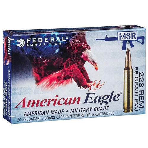 Federal American Eagle .223 Remington 55GR FMJ Boat Tail 20 Rounds
