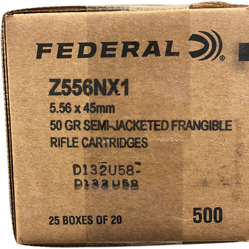 Federal 5.56x45mm 50 Grain Semi-Jacketed Frangible 500 Rounds