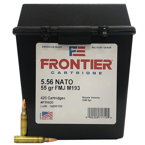 Hornady 5.56 NATO 55GR FMJ Frontier 420 Rounds in Plastic Ammo Can