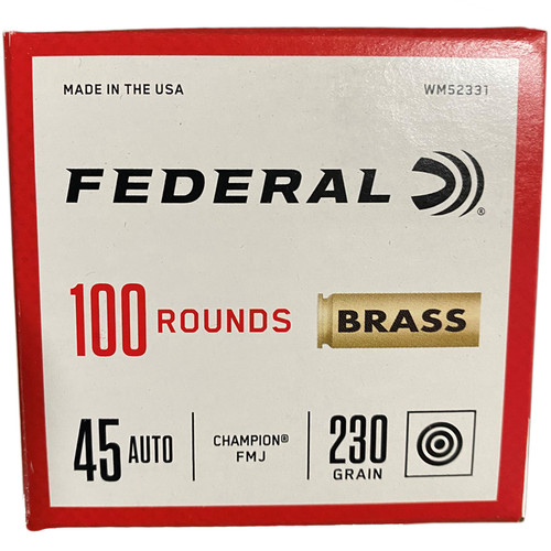 Federal Brass Ammo 45 ACP 230GR FMJ 100 Rounds