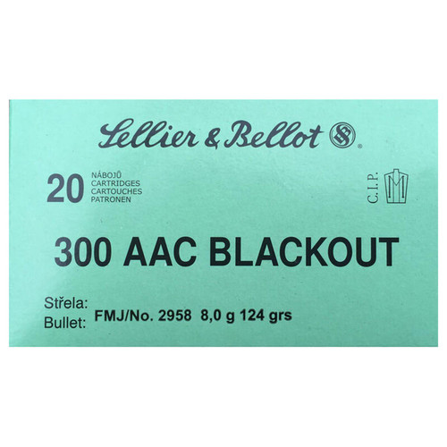 Sellier & Bellot .300 Blackout FMJ 124GR 20 Rounds