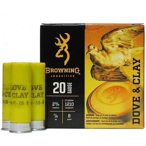"Browning Dove & Clay 20 Gauge 2-3/4"" 7/8 oz. #8 Shot 25 Rounds"