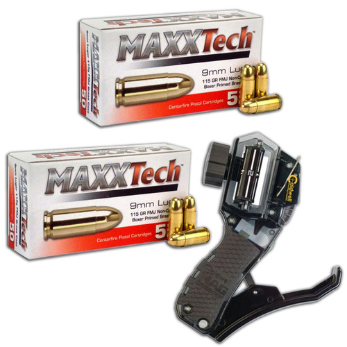 MAXXTech 9mm 115GR FMJ 100 Rounds with Caldwell Mag Charger Combo