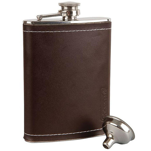 Coleman Tailgater Leather-Wrapped 8 oz Stainless Steel Flask