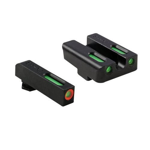 TRUGLO TFX Pro Sight Set Glock 17, 19, 22, 23, 24, 26, 27, 33, 34, 35 Gen 1, 2, 3, 4, 5 Tritium / Fiber Optic Green with Orange Front Dot Outline