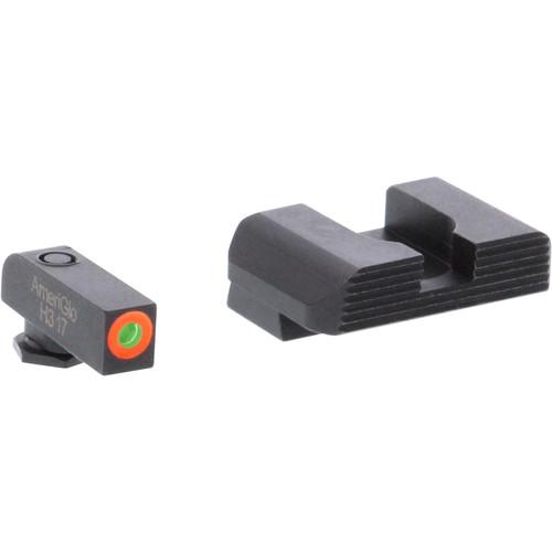 Ameriglo Hackathorn Night Sight Set Glock 42, 43, 43X Tritium Green Front with Orange Outline, Serrated Rear