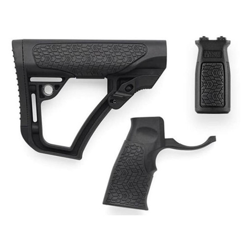 Daniel Defense Collapsible Stock, Pistol Grip, M-Lok Vertical Foregrip Combo Kit Mil-Spec Diameter AR-15, LR-308 Carbine Polymer Black
