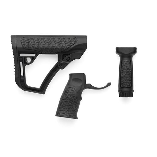 Daniel Defense Collapsible Stock, Pistol Grip, Vertical Foregrip Combo Kit Mil-Spec Diameter AR-15, LR-308 Carbine Polymer Black