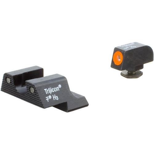 Trijicon HD Night Sight Set Glock 42, 43, 43X, 48 Steel Matte 3-Dot Tritium Green with Orange Front Dot Outline