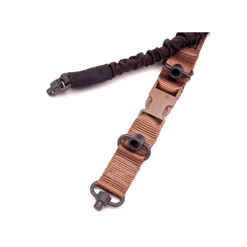 CrossTac Tactical Single/Double Point Sling with Push Button Swivel Nylon Bungee Coyote
