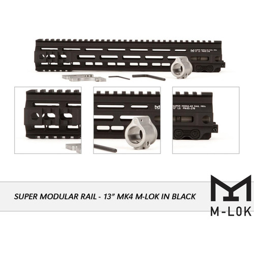 Geissele Super Modular Rail MK4 M-Lok Free Float Handguard with Low Profile Gas Block AR-15 Aluminum Black 13""
