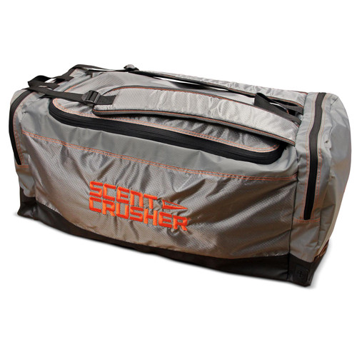 Scent Crusher Gear Bag with Halo Series Ozone Scent Elimination Device Gray