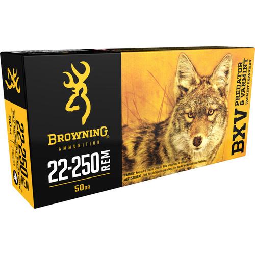 Browning BXV Varmint Expansion Ammunition 22-250 Remington 50 Grain Polymer Tip Rapid Expansion Box of 20