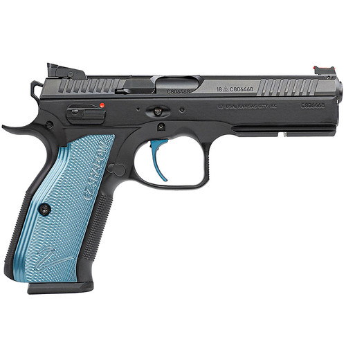 "CZ-USA Shadow 2 SA 9mm Luger 4.89"" Barrel 17-Round Steel With Blue Grips"