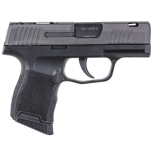 """Sig Sauer P365 SAS Semi-Automatic Pistol 9mm Luger 3.1"""" Carbon Steel Barrel Stainless Steel Frame Nitron Finished Stainless Steel Slide Black Grips 10 Round"""