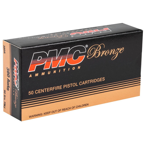 PMC Bronze .380 ACP AUTO Ammo 90GR FMJ 50 Rounds