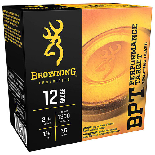 "Browning BPT Target Ammo 12 Gauge 2-3/4"" 1-1/8 oz #7-1/2 Shot 25 Rounds"