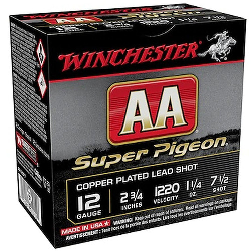 "Winchester Ammo AA12SP7 AA Super Pigeon 12 Gauge 2.75"" 1 1/4 oz 7.5 Shot 25 Rounds"