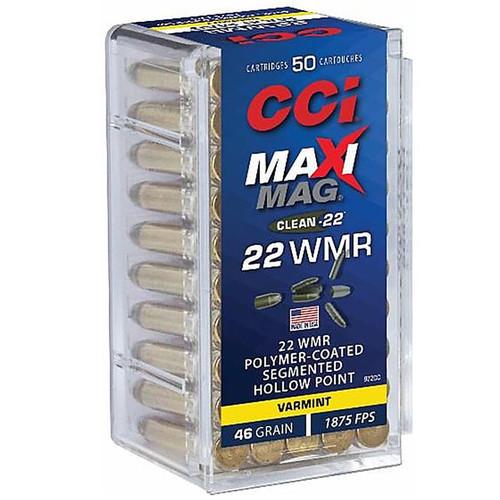 CCI Maxi-Mag Clean-22 Ammo 22 Winchester Magnum Rimfire (WMR) 46GR LHP 50 Rounds