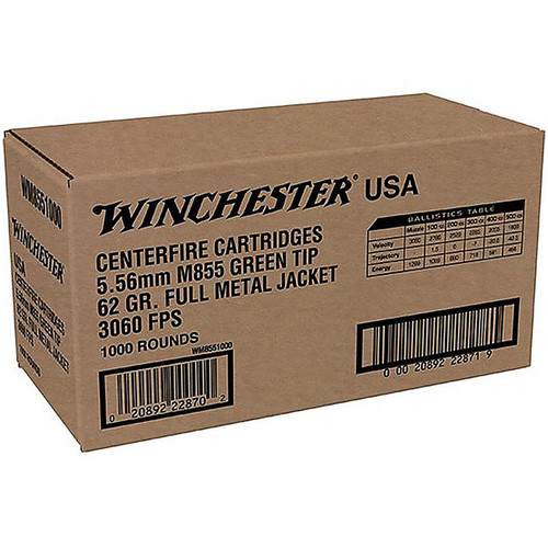 Winchester 5.56 NATO 62GR M855 FMJ Green Tip Case of 1000 Rounds