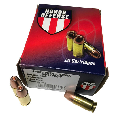 Honor Defense 9mm Luger Ammo 100GR LF Frangible HP 1250fps 20 Rounds