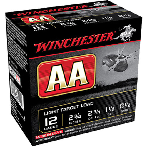 "Winchester USA AA Light Target Load 12 GA 2-3/4"" #8.5 Lead Shot 1-1/8 oz 25 Rounds"