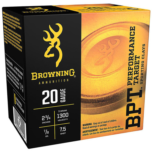 "Browning BPT Target 20 Gauge 2-3/4"" 7/8 oz #7-1/2 Shot 25 Rounds"
