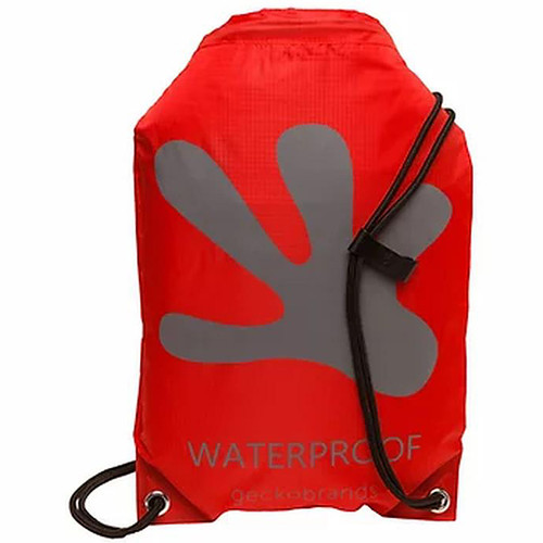 Drawstring Waterproof Backpack - Red/Grey