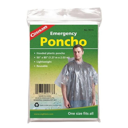 Coghlan's Emergency Poncho With Hood Clear Plastic 9173