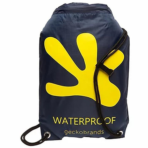Drawstring Waterproof Backpack - Navy/Yellow