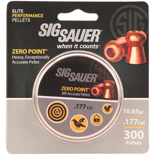 Sig Pellet, .177 Cal, Zero Point, Lead Copper Plated, 300 Count, Blister Pack