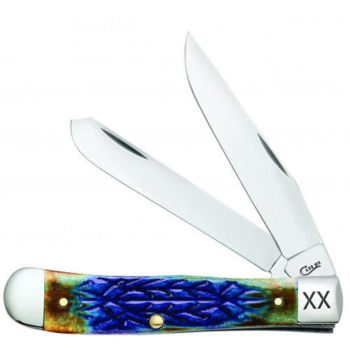 Case XX Trapper Knife Tribal Jigged Burnt Purple Bone Stainless 61801