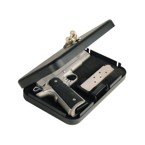 "Secure-It Large Long Hinge Pistol Security Box 9-1/2"" X 6-1/2"" X 1-3/4"" Steel Black"