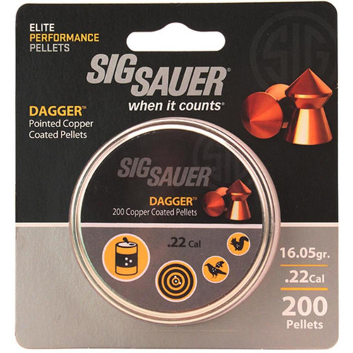 Sig Pellet, .22 Cal, Dagger, Lead Copper Plated, 200 Count, Blister Pack