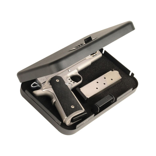"Secure-It Combination Lock Long Hinge Large Pistol Security Box 9-1/2"" X 6-1/2"" X 1-3/4"" Steel Black"