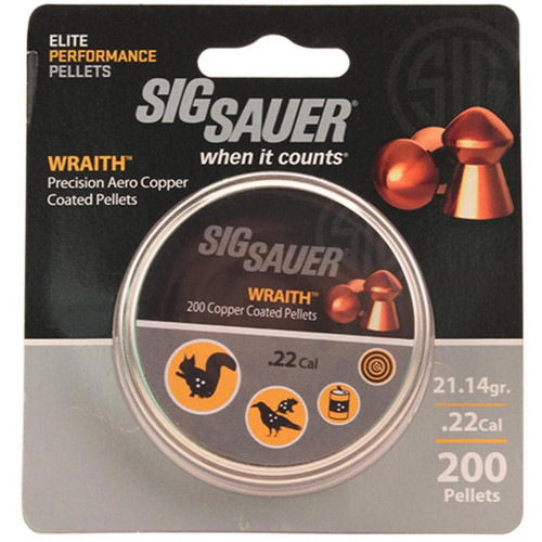 Sig Pellet, .22 Cal, Wraith, Lead Copper Plated, 200 Count, Blister Pack