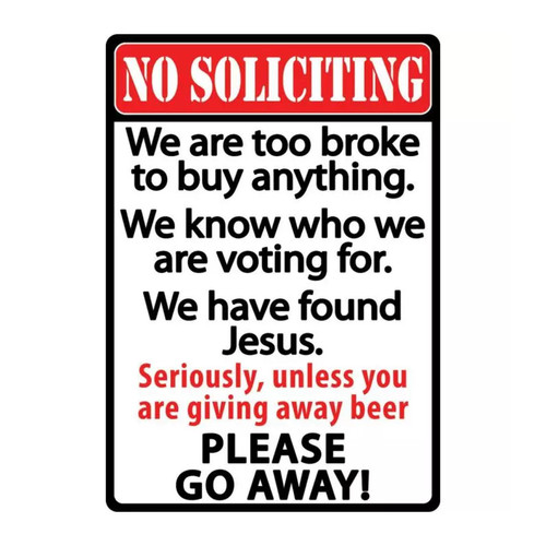 River's Edge No Soliciting Tin Sign