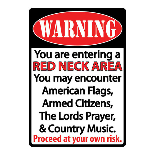 """River's Edge Products """"Redneck Zone"""" Tin Sign, 12""""x17"""", 1518"""