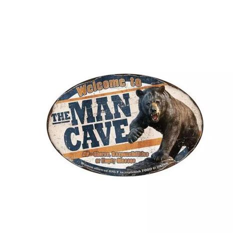 River's Edge Man Cave Bear Tin Sign