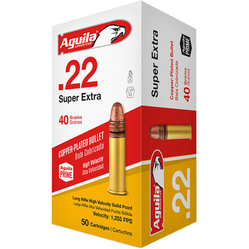 Aguila Super Extra HV 22 LR 40GR Copper Plated Solid Point 50 Rounds